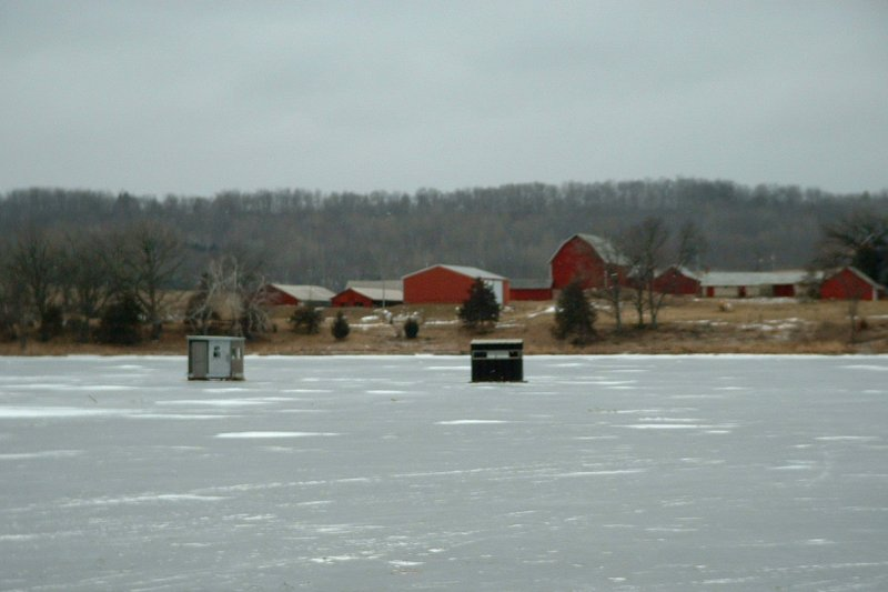 icefishing at the farm