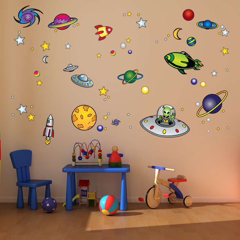 Decorating space theme space theme 1920 39 s decorating ideas for Wall decor outer space