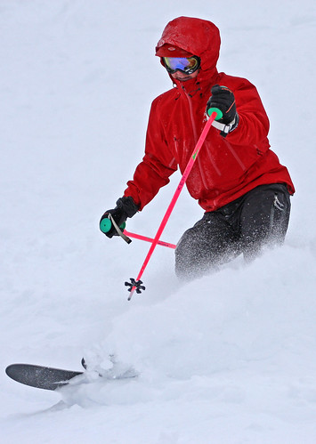 A skier enjoys Alpine Meadow's fresh powder Monday