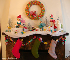 chrismtas mantel (Super*Junk) Tags: santa christmas decorations holiday angel fireplace handmade craft garland elf wreath ornaments tinsel pixies elves mantel gumdrop