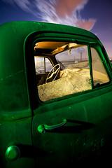 In Unison (Joe R. Reed) Tags: longexposure nightphotography lightpainting green night clouds truck canon desert brokenglass fullmoon moonrise canon5d junkyard shattered tamron startrails cto tamron1935 hollywoodrentals joerreed
