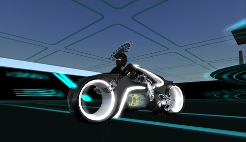 tron inspired motorcycle racing on the grid