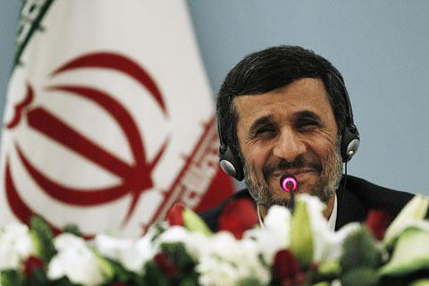 Islamic Republic of Iran President Mahmoud Ahmadinejad addresses the news media in Istanbul, Turkey at a scientific international conference. The president said that sanctions had failed to stem the progress of the middle-eastern state. by Pan-African News Wire File Photos