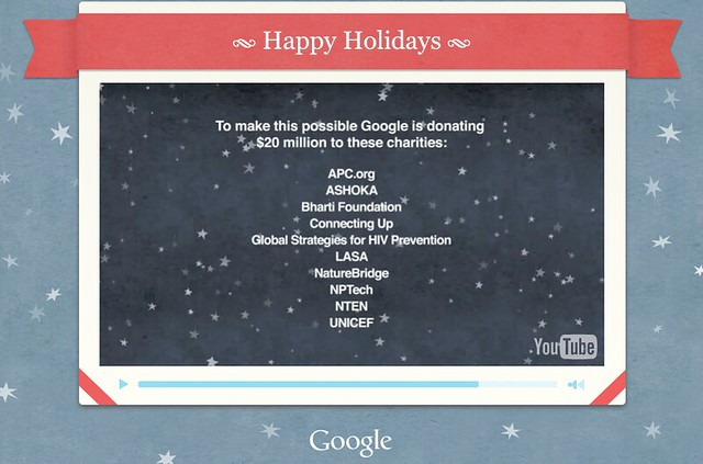 Google 2010 Holidays $20 Million