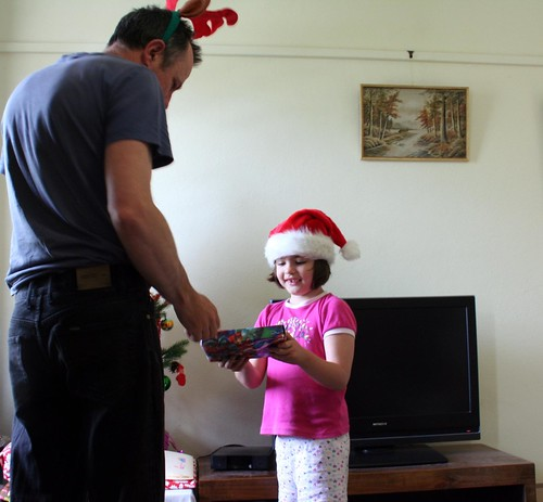 gerard and grace doing the presents on christmas morning