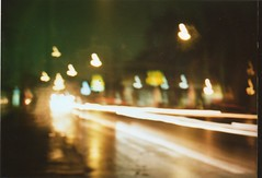 Running lights (HasEightLivesLeft) Tags: light color film speed colore minolta bynight bologna notte esperimento rullino speedlights viaandreacosta primorullo kodakgold200color