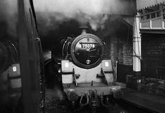 KWVR Keighley West Yorkshire March 1981 (loose_grip_99) Tags: uk railroad england station train blackwhite noiretblanc yorkshire rail railway trains steam 1978 standard railways midland westyorkshire keighley 460 kwvr 4mt lmr britishrailways uksteam 75078 gassteam