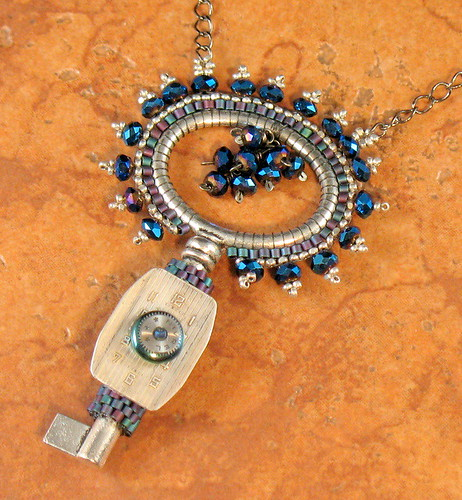 Steampunk Blue and Silver Key Necklace