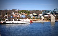 Delta Queen Moored on the Chattanooga North shore (rpennington9) Tags: reflection chattanooga nikon tennessee rivers riverboat walnutstreetbridge tva tennesseeriver coolidgepark deltaqueen forestavenue nikond90 chattanooganorthshore