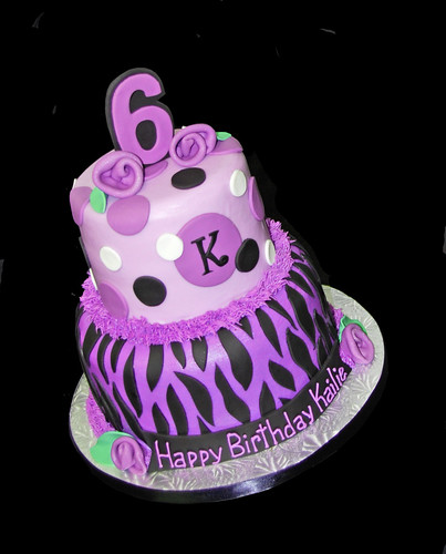 2 tier 6th birthday purple zebra cake