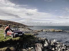 What happens when you run out of road? (TomHughesTom) Tags: autumn sea sky shoe scotland rocks fiesta view finepix fujifilm isle 2010 noiseware gigha f200exr