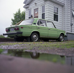 LADA (patrickjoust) Tags: auto house color reflection green 120 6x6 tlr film nova car analog america square lens reflex focus automobile fuji mechanical ns north sydney patrick twin mat v 124g pro cape epson medium format manual 500 scotia expired 80 joust yashica lada breton 220 80mm f35 fujicolor c41 yashinon v500 160s autaut patrickjoust