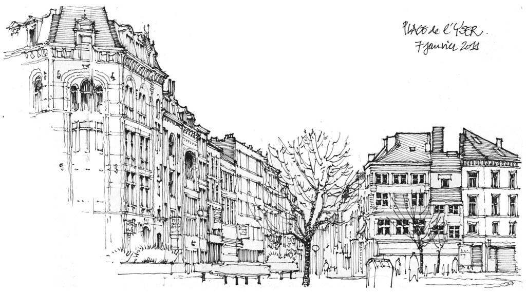 Liège, place de l'Yser