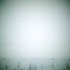 Winter (Brînzei) Tags: cameraphone winter sky white water fog landscape frozen squareformat vignette ★ bucurești laculmorii htchero crângași