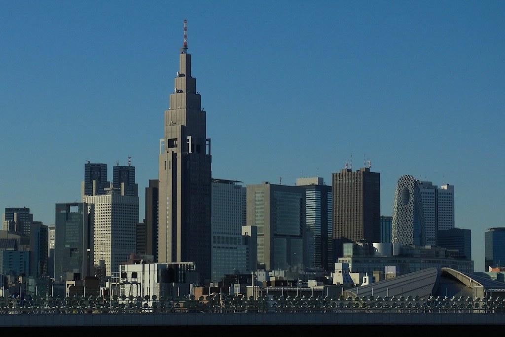 NTT Docomo Yoyogi Building and the high-rise buildings in Shinjuku, Tokyo