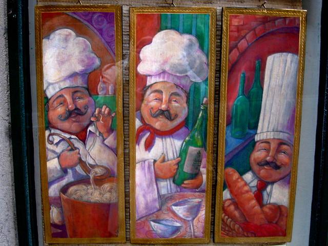 パン屋とコックさんの絵のフリー写真素材