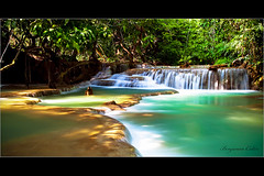 "Blue Water falls ""Fall Asia Laos"" (Ben 5D MKII) Tags: voyage longexposure travel blue light summer vacation holiday color green art nature canon river landscape geotagged photo asia long exposure flickr picture falls waterfalls benjamin laos collin tone poselongue nohdr canoneos5dmarkii"