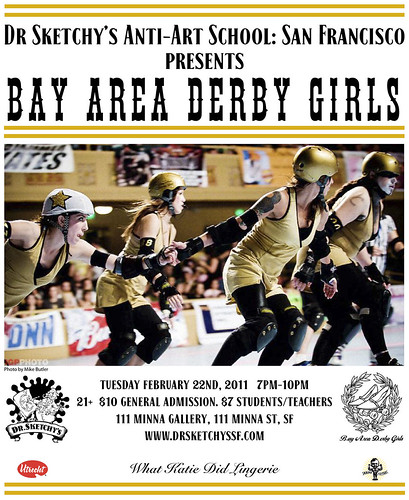 Dr Sketchy's Anti-Art School: San Francisco presents Bay Area Derby Girls
