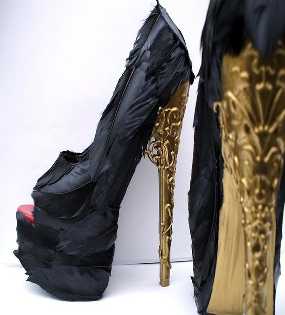 Etsy A La Femme Alexander McQueen tribute feather platform pumps