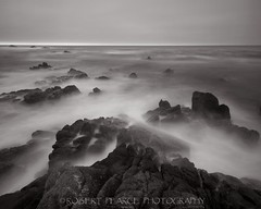 Asilomar Mist, June 21, 2010 (Robert Pearce Photography) Tags: california sky mist seascape water june rock fog landscape monterey 2010 nikond200 robertpearce robertpearcephotography longexposureduskmonocromecoastseapacificoceanwestcoastasilomarpacificcoasthighway