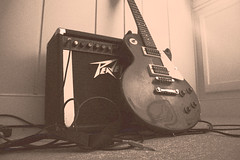 UnPlugged (csthomasXSi) Tags: old music sepia canon cord virginia guitar flash january peavey amp richmond plug strings 1855mm amplifier xsi filmgrain electricguitar speedlite gibsonepiphone