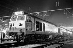 A night at Crewe, 1975; 50031 (robmcrorie) Tags: station night train rail railway loco trains class crewe 1975 british locomotive enthusiast 50 railways railfan 50031 7k05