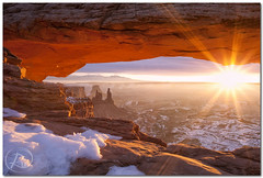 This is Mesa Arch... (Reid Wolcott) Tags: park winter snow sunrise utah ut ray arch national canyonlandsnationalpark canyonlands flare mesa