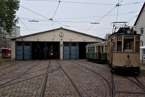 Endstation Museum: Der N8 gesellt sich zu den anderen Museumswagen im Depot St. Peter