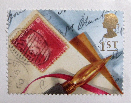 Lovely UK writing-themed stamp