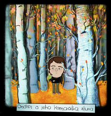 ondrej in the forest (crosti) Tags: blue autumn boy white cute fall love nature collage illustration fairytale forest pencil prague mixedmedia story treetrunk fantasy czechrepublic dreamy illustrator cutouts watercolors sketches greenwoodpecker beechtrees orangeleaves ondrej beechforest crosti christinatsevis