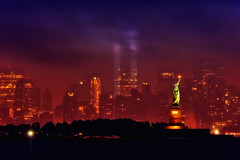 New York City - Remembered (mudpig) Tags: nyc newyorkcity geotagged lights memorial jerseycity manhattan 911 tribute statueofliberty hdr tributeinlight ladyliberty mudpig stevekelley hdrtist hdrtistprohdrrendering