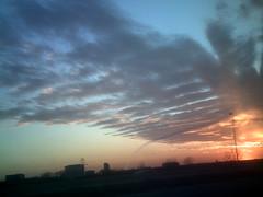 January sunset, Texas freeway