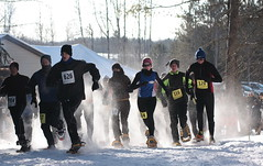 Phillips flurry snowshoe race start