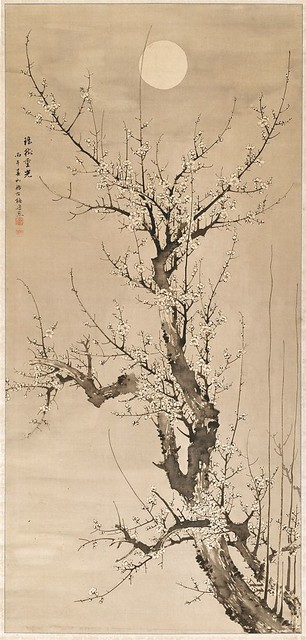 Baiitsu Yamamoto-Prunus in the moonlight ink on silk (1846)Detroit Institute of Arts