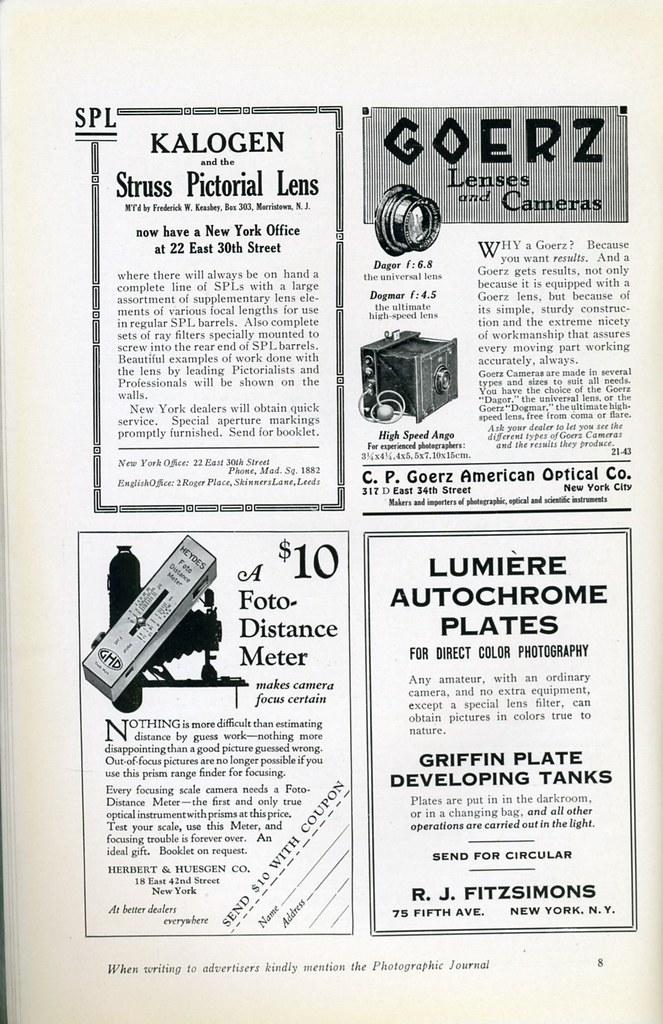 Kalogen and the Struss Pictorial Lens - Goerz Lenses and Cameras - A $10 Foto-distance Meter - Lumiere Autochrome Plates - 1921