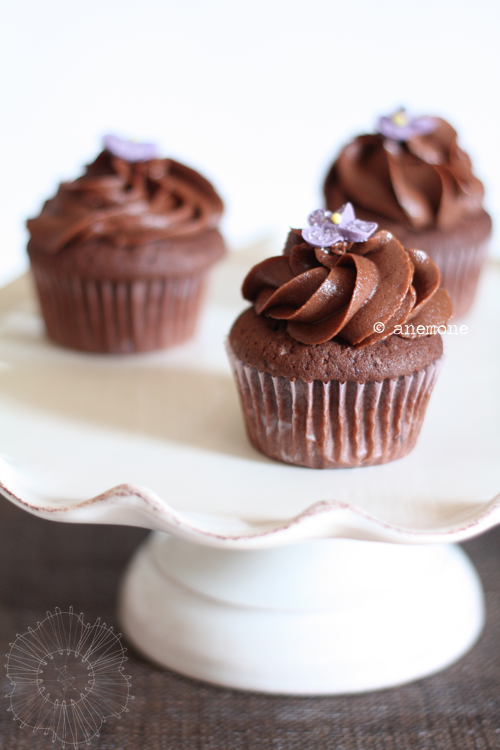 Cupcakes al cioccolato con chocolate fudge frosting