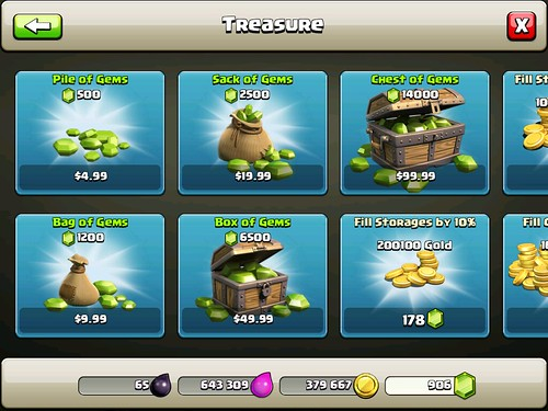 Clash of Clans Virtual currency Bank: screenshots, UI