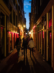 Shoppers (buddythunder) Tags: europe amsterdam netherlands wideangle contrast red neon lights perspective crowd tourists prostitution vice hookers windows beautiful travel