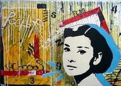 audrey2 (Mateusz Rybka Art) Tags: street art painting stencil montana handmade canvas audrey 94 hepburn pochoir molotow