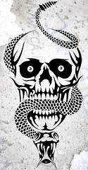 SEPENTE (Black Crown . tribal) Tags: white black art skeleton skull design cobra arte mask head snake bad tribal esqueleto tatoo ilustration cranio disgn