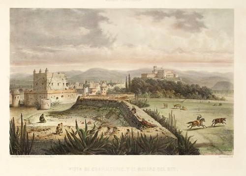 018-Vista de Chapultepec y el molino del rey- Album Pintoresco de la Republica Mexicana 1850