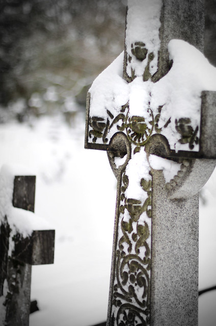 Graveyard in snow