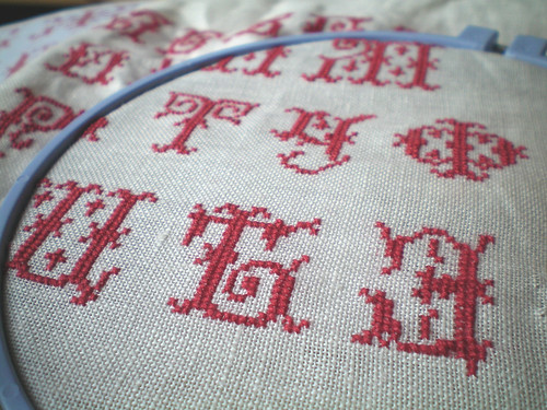 Russian cross-stitch sampler, WIP