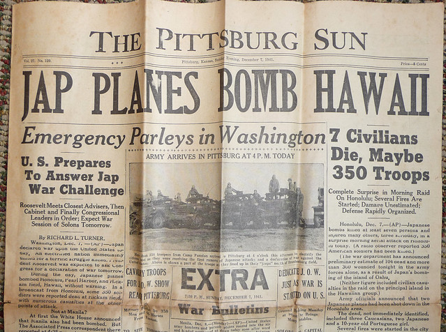 Pittsburg Sun 1941 December 7 Evening - Detail 1 - Front Page Headlines Army Arrives Pittsburg