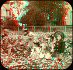 Gathering Daisies 1899 anaglyph3D (depthandtime) Tags: old flowers original daisies vintage children found stereoscopic 3d backyard view antique 19thcentury victorian anaglyph stereo card stereoview stereograph foundphoto picking stereoscope nineteenthcentury 1890s anaglyphic stereographic 1899 turnofthecentury redcyan stereocard keystoneviewcompany blsingley stereoscopeview