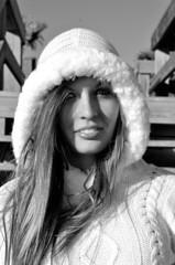 Ashley (Rebecca Ariel) Tags: girl smile stairs sweater stair woolysweaterfuzzy sweaterwindblack whitebwwhite
