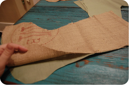 {craft}ernoon: burlap stocking - step 8