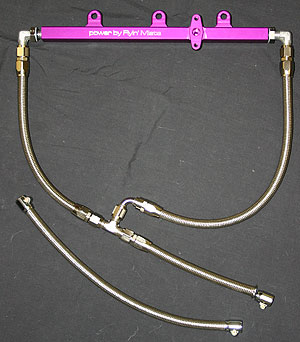 flyin' miata dual feed fuel rail with stainless steel feed lines