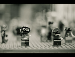 Lego Tourists (Jaime973) Tags: camera nyc canon 50mm raw bokeh rockefellercenter tourists legos legostore legopeople hbw happybokehwednesday