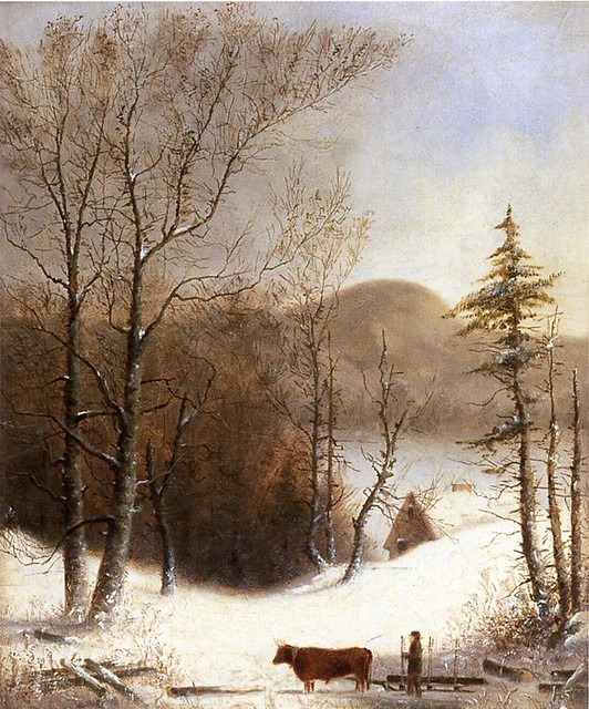 Winter Landscape with Log Cart 1855